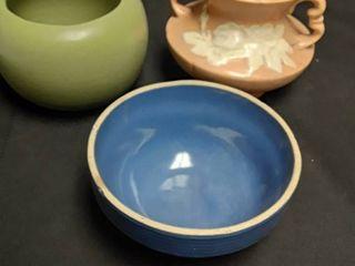 Weller s Peach Vase Floraline Green Vase and Blue Ceramic Bowl