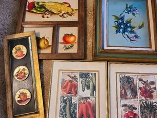 Framed pictures of fruit and vegetables