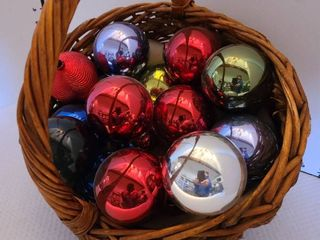 Christmas ornaments and basket