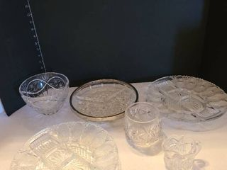 Glass serving dishes and bowls