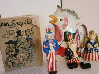 Chicken pitcher by Anthony Pegoraro  Army song book and Fourth of July decor