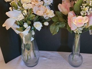 Glass vases with flowers