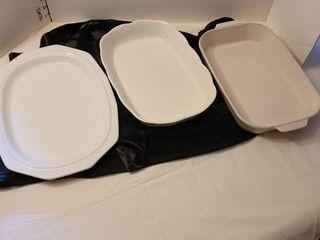 Pfaltzgraff casseroles and a platter with minor crack