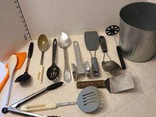 Kitchen utensils and bucket