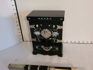 Black lacquer jewelry box and dagger with chop sticks