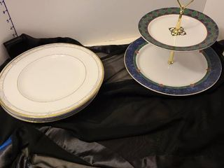 Pfaltzgraff tiered dessert plate  Noritake and Royal Doulton plates