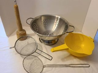 Strainers and vintage wooden masher