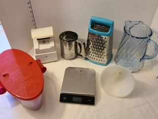 Glass pitcher  grater  sifter  scales  pasta boat  funnel