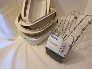 Microwave dishes and lid organizer rack