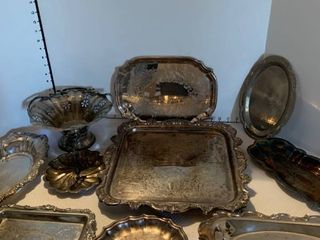 Assorted silver plate trays