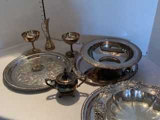 Assorted silver plate items