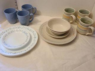 Three Pfaltzgraff mugs and Corelle pieces
