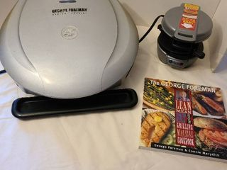 George Foreman grill  includes cookbook and breakfast sandwich maker