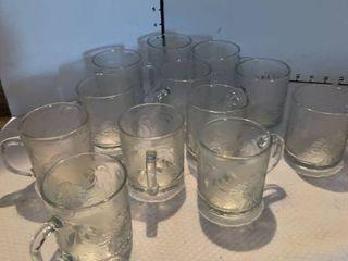 Set of 12 glass mugs