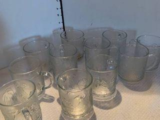 Set of 11 glass mugs