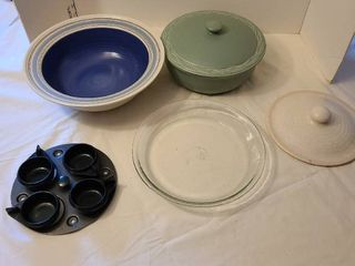 large Pfaltzgraff bowl  Pfaltzgraff casserole with lid  pie plate and more