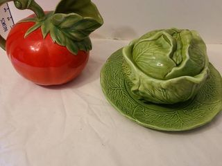 Tomato pitcher has small chip on lip and cabbage platter  bowl  lid