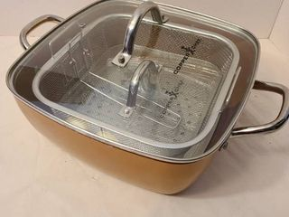 Copper Chef 11  Pan with fry basket and hamburger press  appears to be unused