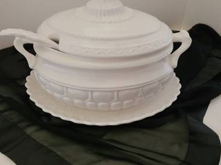 White soup tureen with ladle and platter