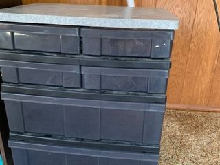 Six drawer plastic storage bin 22X 26X 15