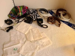 Assortment of hankies  belts  lanyards and more