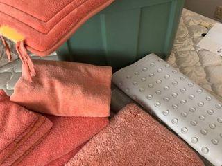 Bath towels  hand towels  bath mats and bin