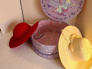 Red and white ladies hats and hatbox