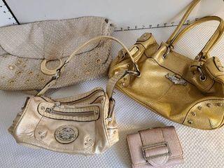 3 ladies handbags and a wallet