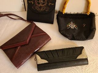 Four ladies handbags and clutches