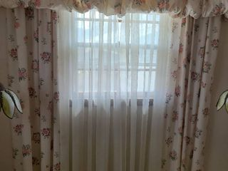 Floral curtains  valance and white sheers