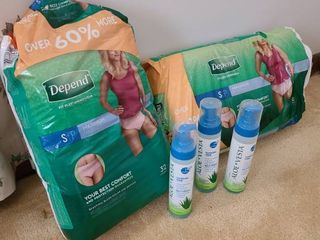 Two packages Depend underwear  size small  Both packages open but nearly full  3 bottles of aloe vesta