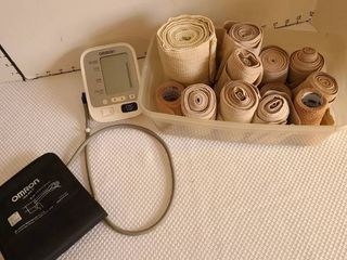 Omron blood pressure monitor and variety of elastic bandages