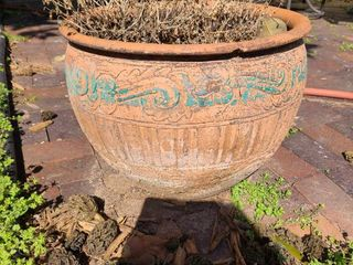 Clay flowerpot with crack 18  wide by 15  tall