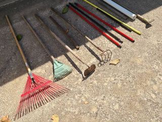 lawn care tools and broom sticks