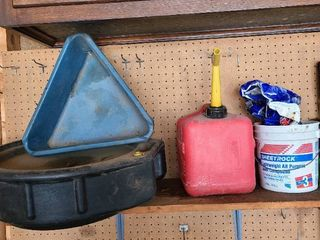 Oil pan  gas can  ice melt in bucket