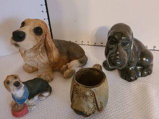 Assorted Bassett hound statues