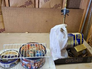 Assorted tins  table lamp and more