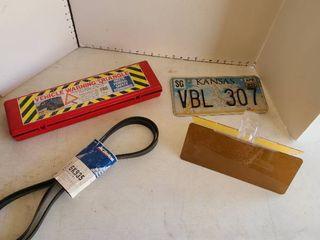Kansas car tag   sun visor  ACDelco belt and vehicle warning triangle