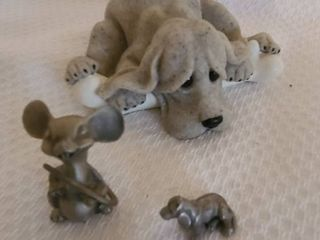 Quarry critters and Hudson Pewter basset hound and mouse