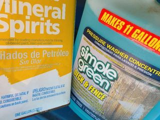 Odorless mineral spirits and simple green deck and fence wash container included