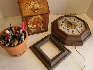 Wooden storage box  clock  frame  and assorted ink pens