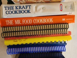 Assorted cookbooks and bookend