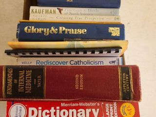 Assorted religion books and dictionaries