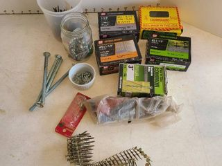Assorted nails and screws