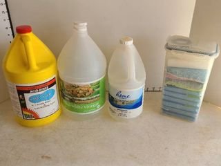 Household cleaning items with sponges in a lock and lock storage container