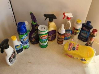 Assorted household cleaning items