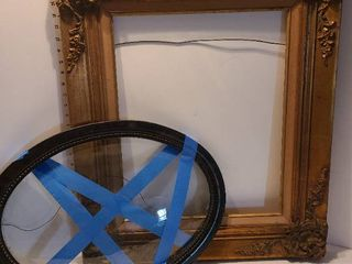 Ornate frame 29 x 24 and oval frame with glass 22 x 16