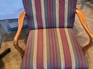 Striped chair with wooden arms