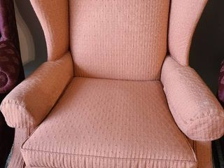 Wingback chair salmon in color
