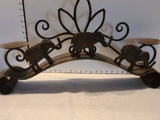 Metal elephant candle holder 26 inches